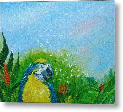 Parrothead Wakes Up In Margaritaville Metal Print by Phyllis OShields