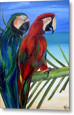 Parrots On The Beach Metal Print by Patti Schermerhorn