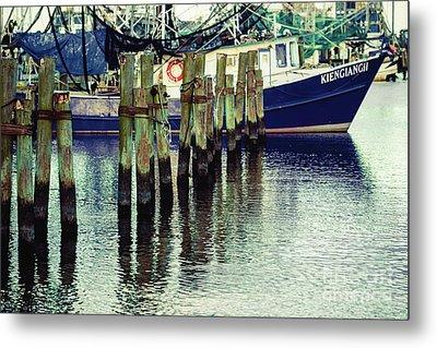Pass Christian Harbor Boat Metal Print