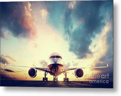 Passenger Airplane Taking Off On Runway At Sunset Metal Print by Michal Bednarek