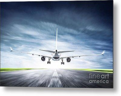 Passenger Airplane Taking Off On Runway Metal Print by Michal Bednarek