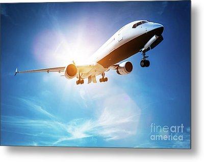 Passenger Airplane Taking Off, Sunny Blue Sky. Metal Print by Michal Bednarek