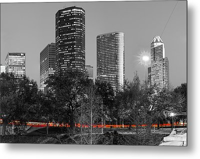 Passing Through - Houston Texas - Selective Coloring Metal Print by Gregory Ballos