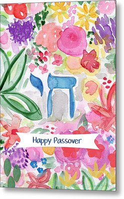 Passover Chai- Art By Linda Woods Metal Print