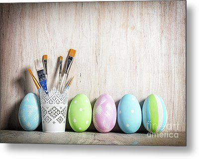 Pastel Easter Eggs And Brushes In A Rustic Cup Metal Print