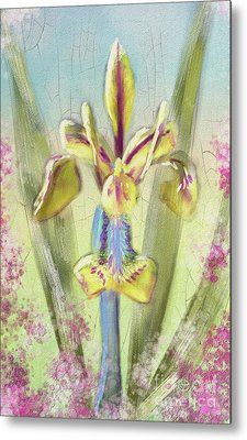 Metal Print featuring the digital art Pastel Iris by Lois Bryan