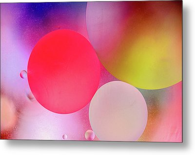 Metal Print featuring the photograph Pastel Oil Bubble Water Drops by John Williams