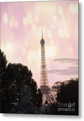 Pastel Paris Eiffel Tower Sunset Bokeh Lights - Romantic Eiffel Tower Pink Pastel Home Decor Metal Print by Kathy Fornal