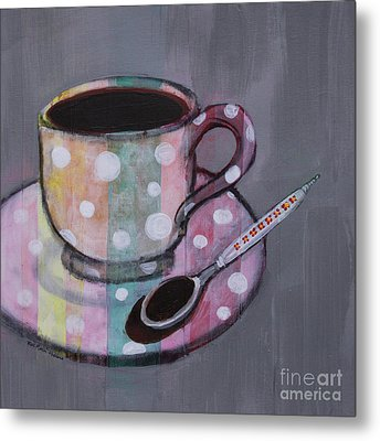 Metal Print featuring the painting Pastel Stripes Polka Dotted Coffee Cup by Robin Maria Pedrero