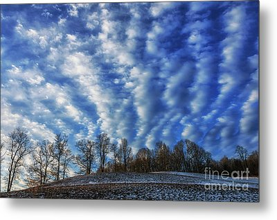 Pasture Field And Winter Sky Metal Print by Thomas R Fletcher