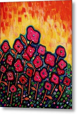 Patchwork Poppies Metal Print by Brenda Higginson
