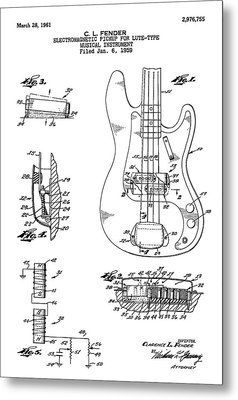 Patent Drawing For The 1959 Electromagnetic Pickup For Lute Type Musical Instrument By C. L. Fender Metal Print