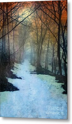 Path Through The Woods In Winter At Sunset Metal Print by Jill Battaglia