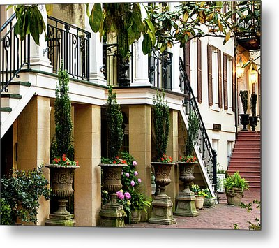 Patio At Dusk Metal Print by Sandra Anderson