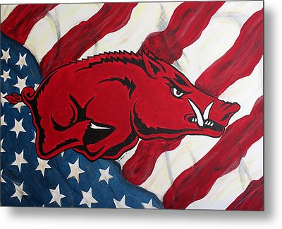 Patriot Hog Metal Print by Nathan Grisham