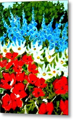 Metal Print featuring the painting Patriotic Garden by Diane Ursin