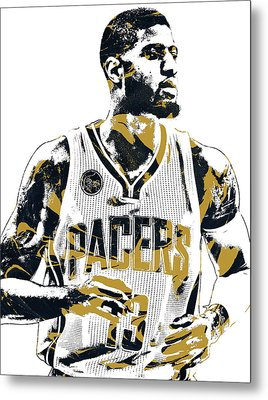 Paul George Indiana Pacers Pixel Art Metal Print by Joe Hamilton