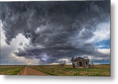 Metal Print featuring the photograph Pawnee School Storm by Darren White