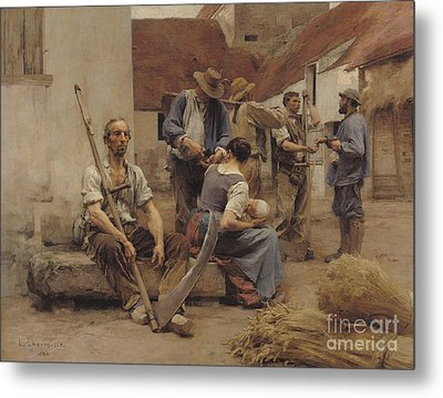 Paying The Harvesters Metal Print by Leon Augustin Lhermitte