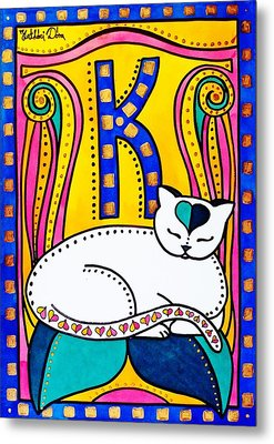 Metal Print featuring the painting Peace And Love - Cat Art By Dora Hathazi Mendes by Dora Hathazi Mendes