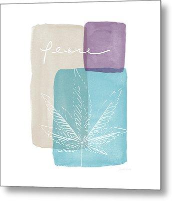 Peace Cannabis Leaf Watercolor- Art By Linda Woods Metal Print
