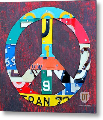 Peace License Plate Art Metal Print by Design Turnpike