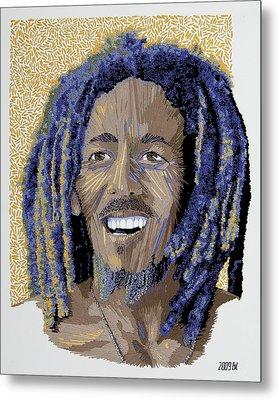 Peace Portrait One Bob Marley Metal Print by Barbara Lugge