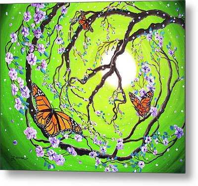 Peace Tree With Monarch Butterflies Metal Print by Laura Iverson