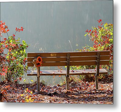 Peaceful Bench Metal Print by George Randy Bass
