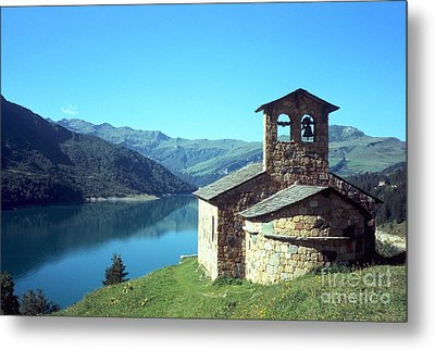 Peaceful Church And Lake  Metal Print by Fabrizio Ruggeri