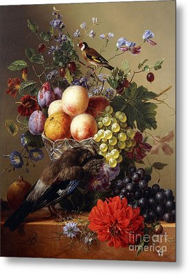 Peaches, Grapes, Plums And Flowers In A Glass Vase With A Jay On A Ledge Metal Print by Arnoldus Bloemers