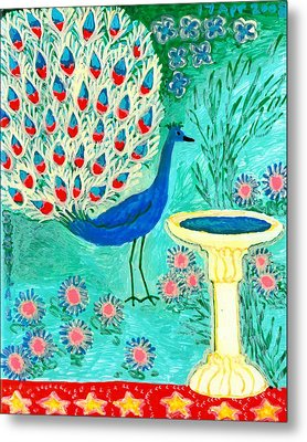Peacock And Birdbath Metal Print by Sushila Burgess