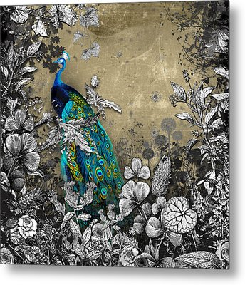 Peacock Pop Up Book Illustration Metal Print by Carly Ralph