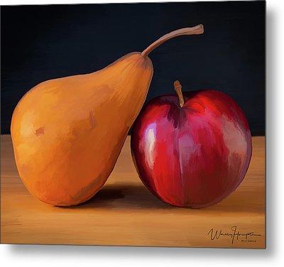 Pear And Plum 01 Metal Print by Wally Hampton