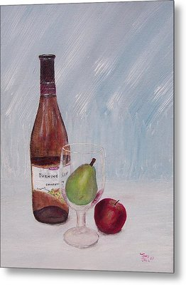 Pear In Glass Metal Print by Tony Rodriguez