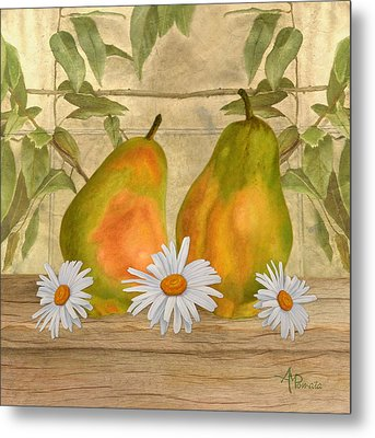Pears And Daisies Metal Print by Angeles M Pomata