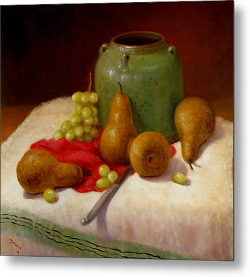 Metal Print featuring the painting Pears And Grapes by Donelli  DiMaria
