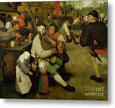 Peasant Dance Metal Print by Pieter the Elder Bruegel