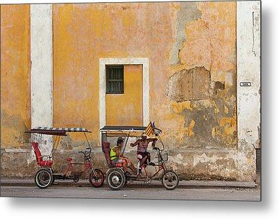 Pedicabs At Convento De Santa Clara Havana Cuba Metal Print by Charles Harden