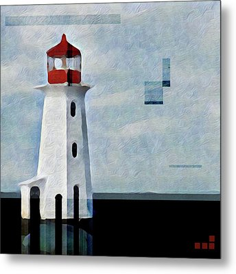 Peggys Cove Lighthouse Painterly Look Metal Print