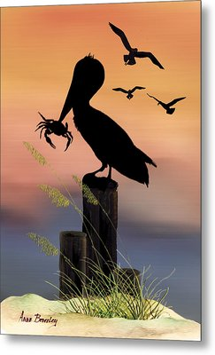 Pelican At Sunset Metal Print by Anne Beverley-Stamps