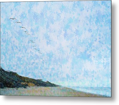 Pelican Mission Metal Print by Cheryl Waugh Whitney