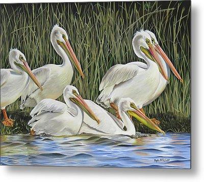 Pelican Parade Metal Print by Phyllis Beiser