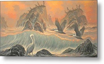 Pelican Paradise Metal Print by Marte Thompson