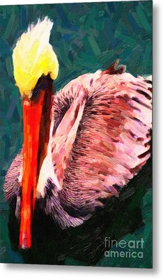 Pelican Wading In Water Metal Print by Wingsdomain Art and Photography