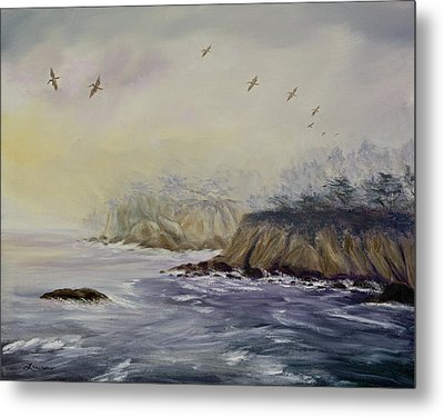 Pelicans On A Misty Morning Metal Print