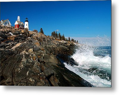 Pemaquid Point Lighthouse - Seascape Landscape Rocky Coast Maine Metal Print