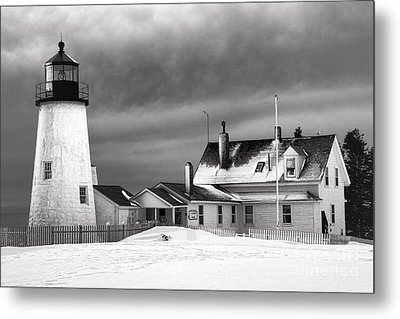 Pemaquid Point Lighthouse And Museum In Winter Monochrome  Metal Print by Olivier Le Queinec