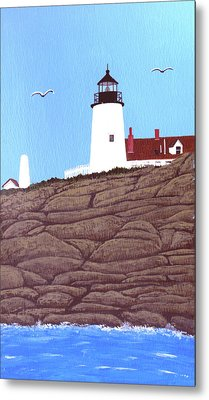 Pemaquid Point Lighthouse Painting Metal Print by Frederic Kohli