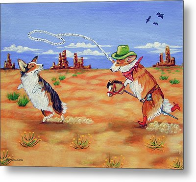 Pembroke Welsh Corgi Opie Gets A Date Metal Print by Lyn Cook
